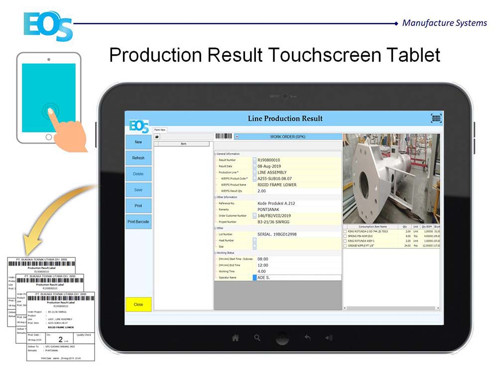 Tablet Input - EOS Production Result Touchscreen